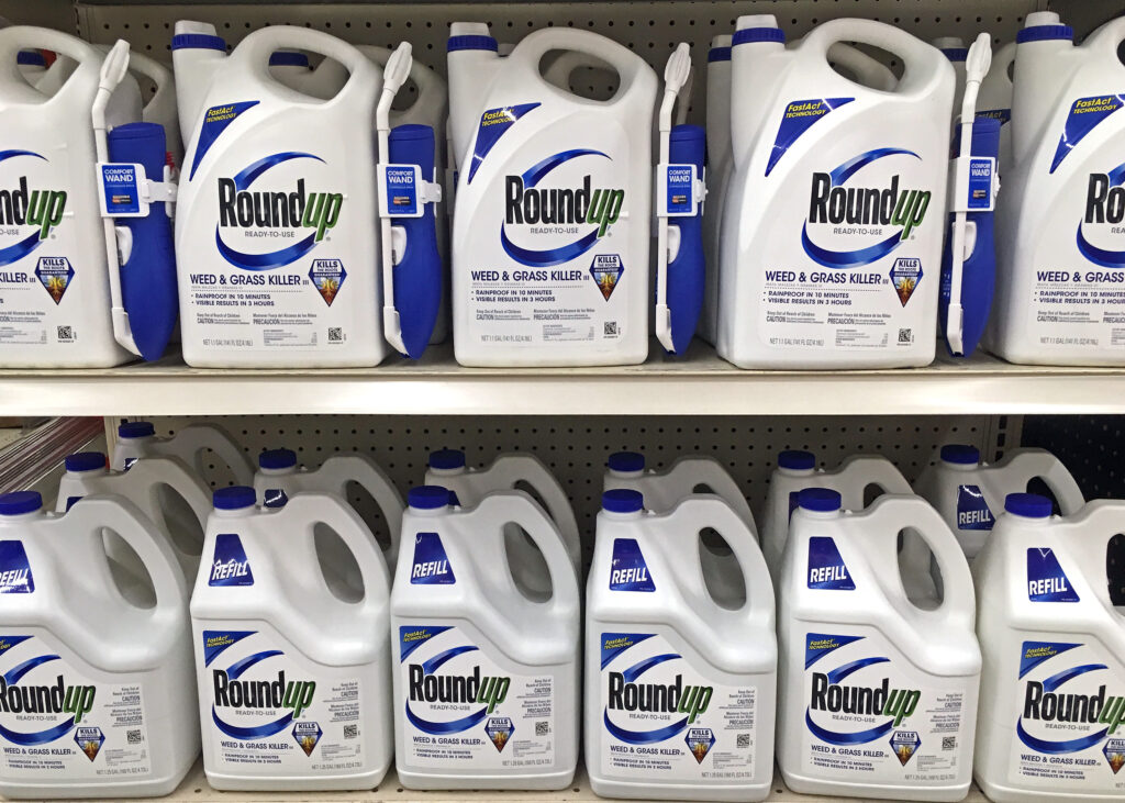 store shelf full of roundup