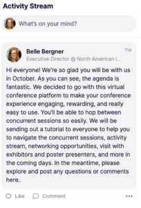 screenshot of a message on the activity stream