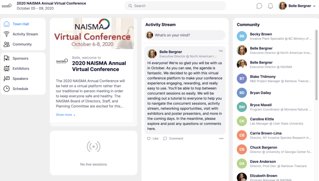 screenshot of multi-module dashboard of conference activity