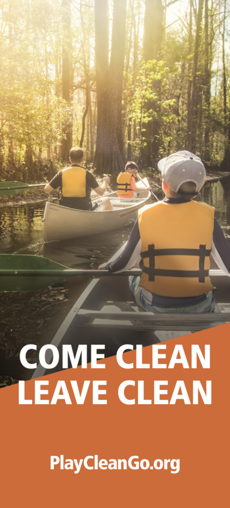 """kids canoeing rack card with """"come clean, leave clean"""" message"""