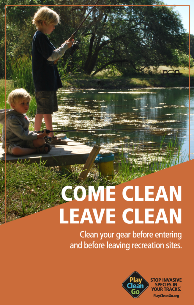 """two young children fishing with """"Come Clean Leave Clean"""" text over orange background"""