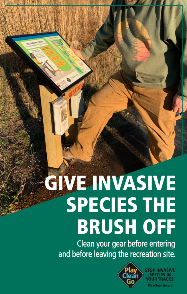 """""""Give invasive species the brush off"""" poster with man using a boot brush station and teal/green background with text"""