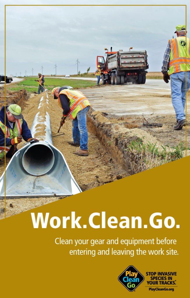 """pipeline workers with """"Work. Clean. Go"""" text over gold background"""