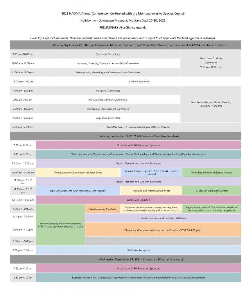 NAISMA 2021 Conference At a Glance Agenda-1
